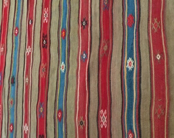 Vintage Dhurrie Rug, Kilim hand woven, Turkish,