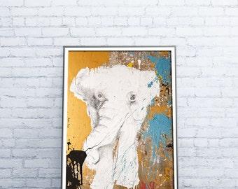 Elephant Print, Elephant Nursery, Savannah Prints, sfari Animal Prints, Savannah art, Safari Nursery Decor,Print on Wood, 36X24 Print, #527E