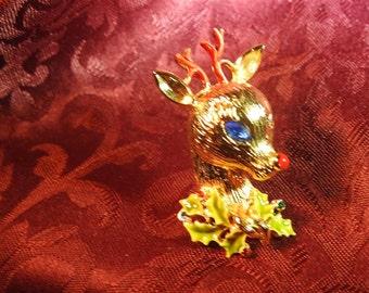 stunning rare signed art gold plate enamel and rhinestone figural reindeer brooch