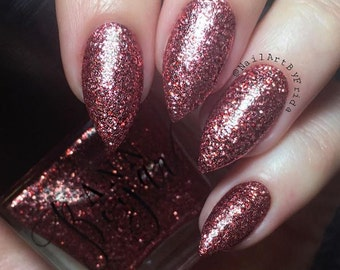 RED COPPER - Burgundy Glitter Nail Polish, Maroon Nail Polish, Nail Lacquer, Holo Nail Polish, Luxury Nail Polish, Gifts For Wife, AnnBoyar