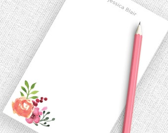 Personalized Notepad Teacher, Personalized Notepad Set, Personalized Writing Paper, Custom Notepad, Writing Pad, Floral Notepad, NP09