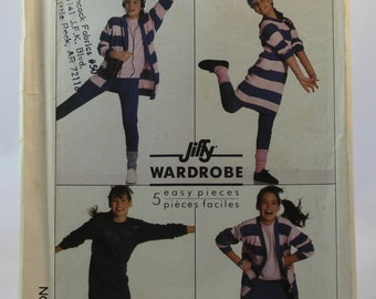 Simplicity 8195 Vintage Sewing Pattern Girls' Cardigan, Pullover Dress or Top and Slim-Fitting Skirt & Pants Stretch Knits Size 8 / Varsity