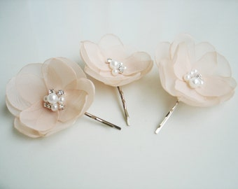 Pale Peach Hair Flower Bridal Hair Accessories Crystal Pearl Peach Hair Piece Wedding Hair Clips Peach Bridesmaids Hair Pins