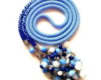 "Beaded lariat necklace ""Blue lake"". Handmade jewelry"