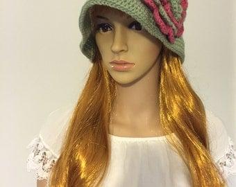 Green Crochet Sun Hat with Flower
