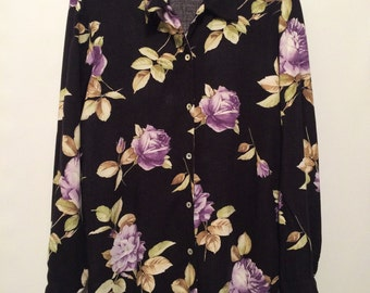Black & Purple Floral Print Shirt