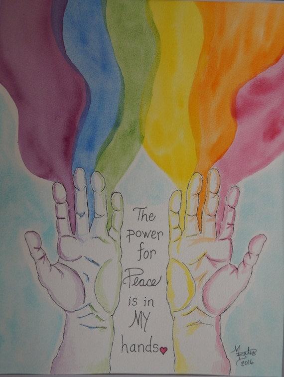 Rainbow Peace Original Watercolor Painting
