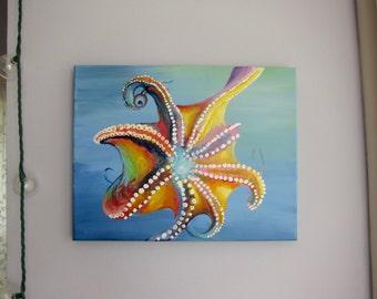 OCTOPUS PAINTING - acrylic octopus, octopus decor, octopus wall art, octopus gift, bedroom art, sea art, sea life painting, beach house art