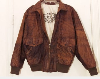 Vintage Distressed Brown Leather Aviator Bomber Flight Jacket by Whipp