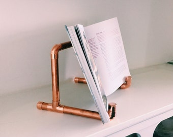 Copper Book Stand / iPad Stand - Rose Gold - Industrial Book Holder