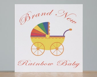 Rainbow Baby. A card to celebrate the arrival of a new rainbow baby boy or new rainbow baby girl