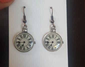 Clock face drop earrings