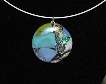 blue, clear dichroic glass pendant necklace