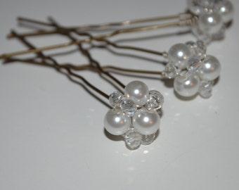 Pearl Hair Cluster, Crystal Hair Cluster, Bridal Hair Pin, Bridesmaid Hair Pin, Wedding Accessories