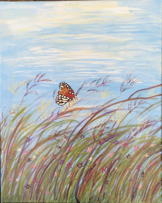 Butterfly Art, Butterfly, sea grass, butterfly and flowers with butterfly surfing, butterfly painting
