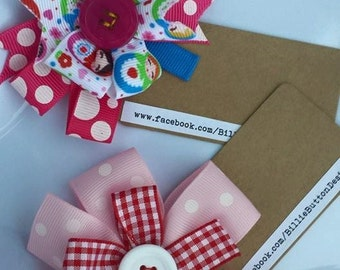 "The ""Gingham Giggles""  grosgrain ribbon and button hair clip.  Double layered.Handmade, made to order."