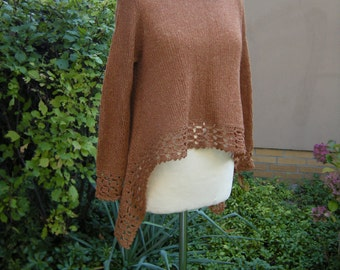 Sweater, tunic, shirt, brass/copper/Brown, size 40/42