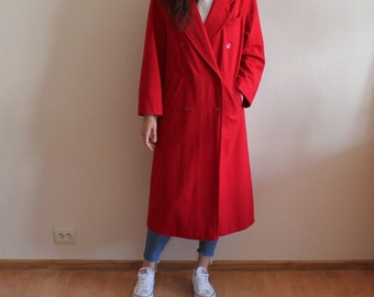 Crimson Red Wool Blend Womens Coat Jacket Vintage Winter Double Breasted Hot Red Oversized Long Trench Medium Size