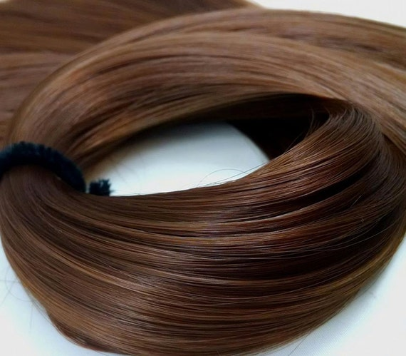 Belle Medium Brown Nylon Doll Rerooting Hair Hank for My Little Pony, Barbie, Sindy, Monster High, Ever After, Dawn, Crissy, Blythe, Mego