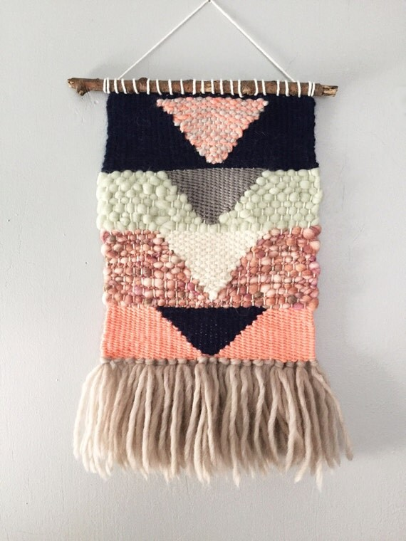 Woven Wall Hangings woven wall hanging pink navy grey mint geometric