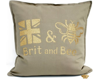 Brit and Bee Throw Pillow - Established 2016 - Glitter Pillow - Brit and Bee Pillow - Bumble Bee Cushion - Gold Pillow - Gold Bee - Khaki