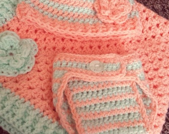 crochet newborn hat, diaper cover, and security blanket