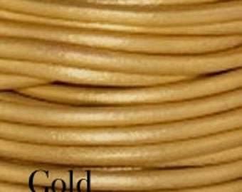 2mm Leather Cord, Gold Leather, Cord,  Rope, Leather Supplies, Wrap Bracelet Leather, Gold Leather, Jewelry Leather, By Yard