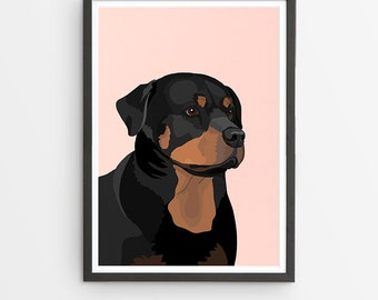 Rottweiler Illustrated Breed Print  / Various Colours /  Dog Lover's Gift / Poster
