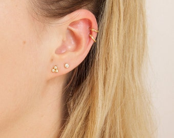 Tiny gold earrings - cz - small gold studs - gold earrings - small gold earrings - bezel earring - gold stud earrings - cz earrings - SF3695