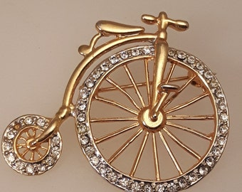 Vintage Old Fashioned Bicycle Brooch with Gold Tone and Diamantes