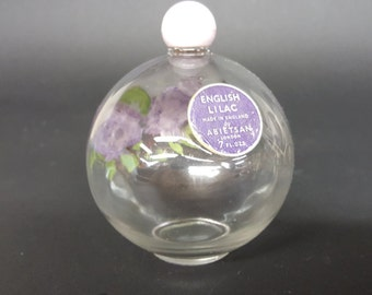 English Lilac by Abietsan Hand Painted Rare 7 Ounce Vintage Bottle Made in England