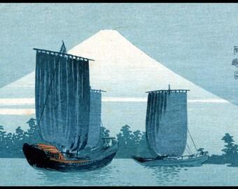 Landscape Print - Boats Print - Fuji - Japanese Art - Blue - Japanese Vintage Print - Woodblock - Ukiyo-e - Uehara Konen - Digital Download