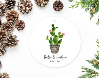 Cactus Ornament Personalized Hand Painted Cactus with Flowers Wedding Gift Engagement Gift
