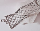 Vintage Silver Metal Mesh and Clear Rhinestone Bracelet