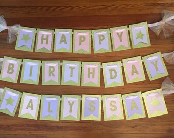 "Gold Glitter ""Happy Birthday"" Banner"