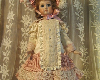 """FRENCH DOLL DRESS for 20"""" Antique Lace Victorian Style - Silk ~ Cream & Dusty Pink"""