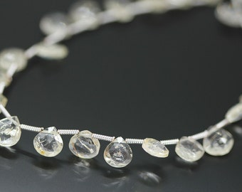 Yellow Scapolite Faceted Heart Drop Briolette Loose Beads Strand - 4 inches - 7 MM -Jewelry Making