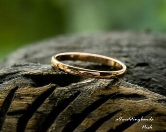 9ct Rose Gold Wedding Band 2mm Width D Shape Wedding Band, Women's wedding band, Made to order