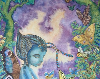 Dreamer Watercolor Painting Giclee canvas prints, fantasy fairy sleeping blue butterflies trees forest purple green wings ferns mushrooms