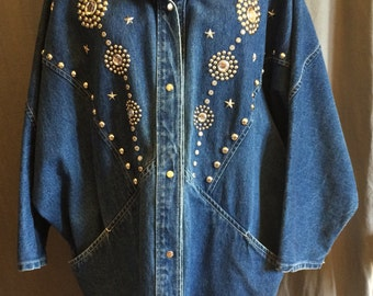 Long Slouchy Studded Denim Jacket from 1980 with  Raglan Long Sleeve Snap Front Size Large | Batwing | Made by I.D M in USA