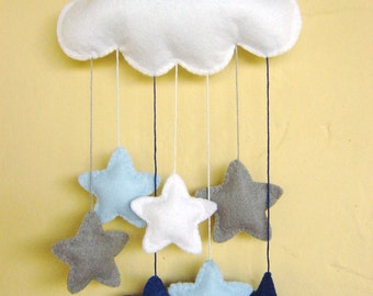 White felt cloud nursery mobile with a cascade of blue, grey and white stars can be personalised
