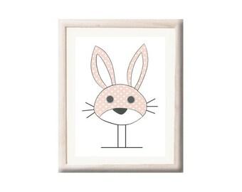 Poster rabbit / wall Decoration for children / La Roulotte Magique