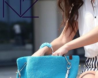 Big bag Tote Large beach blue bag Crocket cover up bag Weekender bag Beach bag tote Hobo bag Large bag Boho bag Summer bag