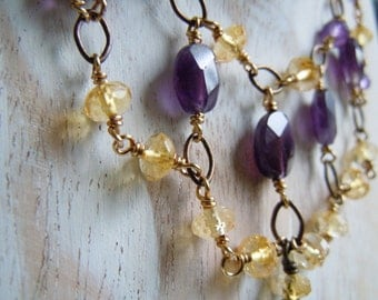 Necklace amethyst and Citrine
