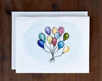 Watercolor Greeting Cards, Set of 5, Balloon Painting, Blank Note Card, Hand Painted, Colorful Art, Congratulations, Design