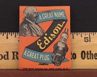 Vintage 1930s Matchbook for Edison Sparkplugs Shelby Service Co.