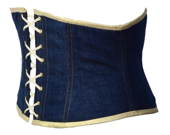 Jeans girdle light denim corset belt with golden sparkle