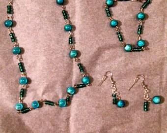 Aqua Beaded Necklace, Bracelet & Earing Set