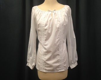 Romantic white lace peasant top with peekaboo lace and keyhole