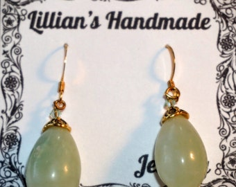 Gold Jade Drop Earrings